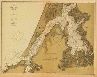 Coos Bay 1912  Nautical Map, Oregon PC Harbors Reprint 5984