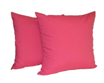 """Set of 2 Pillow Covers ~ 20"""" Solid  Pink Decorative Square Pillow Cover ~ Indoor Outdoor Fabric"""