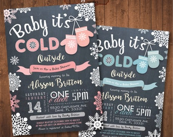 Winter Baby Shower Chalkboard Invitation. Baby Mittens. Digital Printable card