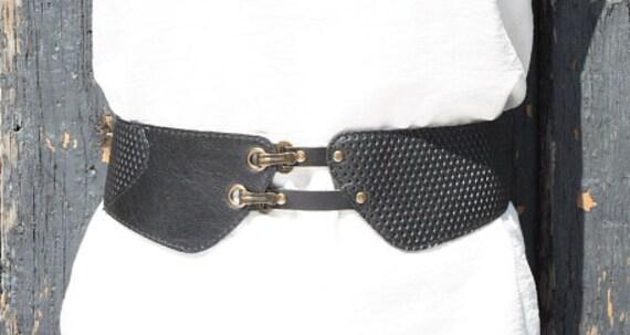 SALE - PARIS BERLIN - tall leather belt for waist, for women - black