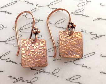 Dainty copper filigree earrings