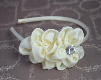 Ivory Flower Headband, Cream Chiffon Flower Headband, Vintage Flower, Girl Headband, Adult Headband, Flower Girl, Wedding Hair Accessory