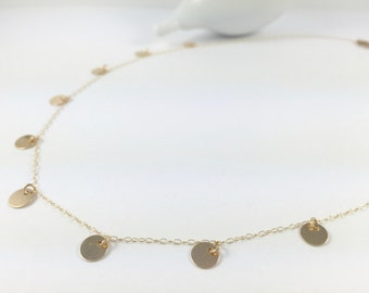 Gold Filled Sequin Necklace, Tiny Dot Necklace, Fatima Necklace, Layering Necklace, Gold Disc Necklace, Simple Gold Necklace, Coin Necklace