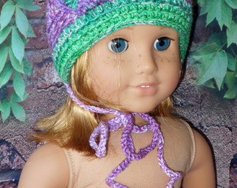 "Handmade for 18"" American Girl Doll CROCHET HAT with Purples and greens with Ruffly Flower to the side Button"