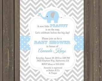 Elephant Baby Shower Invitation, Little Peanut Baby Shower Invite, Baby Girl or Baby Boy Invitations, Chevron