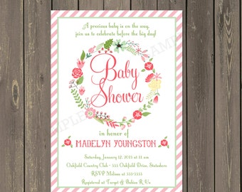 Floral Wreath Baby Shower Invitation, Pink and white Striped Floral Baby Shower Invite, Baby Girl Shower Invitation, Printable or Printed