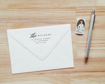 Custom Return Address Stamp with Wood Handle and Script Accent