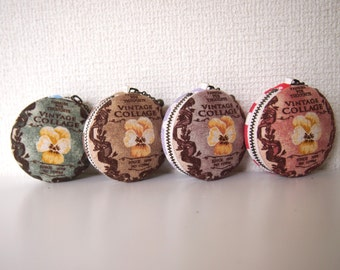 6cm, Macaron Jewelry Pouch/ Macaroon/ Coin Purse - Pansy & Butterfly, Blue/Brown/Purple/Red -  Handmade in Japan by Chikaberry