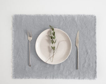 Light Grey Washed Linen Placemat with Fringes