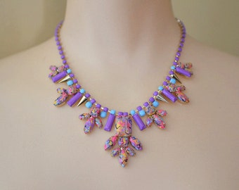 Hand Painted Rhinestone Swirl Necklace - Purple, Blue, Pink, Marigold, Black