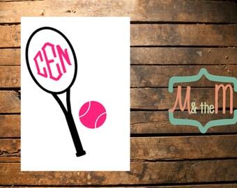 Tennis Racket and Ball Monogram Decal