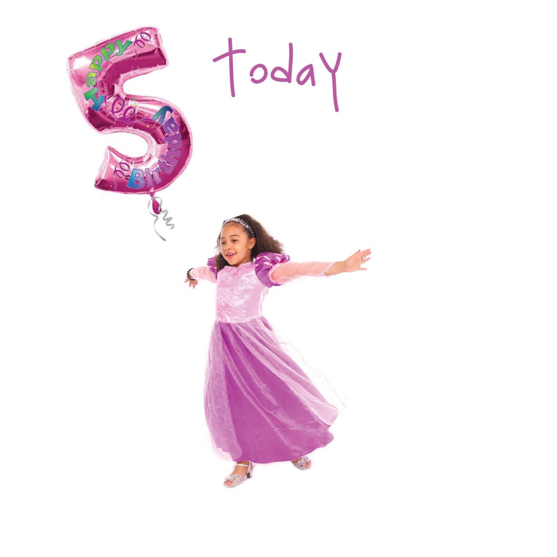 5th Birthday Fifth birthday card Princess birthday card – Birthday Cards for the Blind