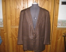 Vtg Filo A Mano Hand Tailored Brown Windowpane 2 button wool union md sport Jacket 44 R free ship