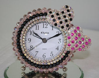 "Pink Crystals & Black Pearls with Rhinestone Hearts Alarm Clock ""CHECKERBOARD LOVE"""