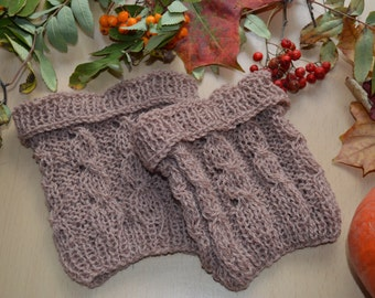 Brown Wool Boot Toppers, boot cuffs, boot buffers, leg warmers. Transform your existing boots.100% wool
