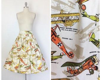 70s Plane Print Skirt / 1950s Vintage Novelty Print Cotton Full Skirt