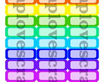 36 Bold Rainbow quarter box stickers for erin condren life planner