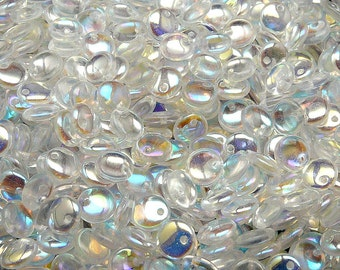 50pcs Lentil Beads 6mm Czech Pressed Glass, Crystal AB (LT013)
