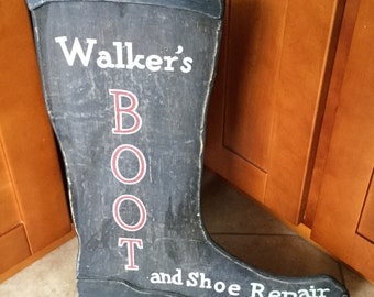 Antique Primitive Boot Repair Advertising Sign