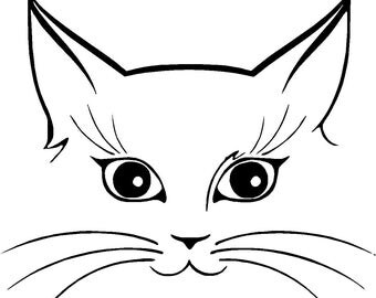 CAT KITTEN KITTY face & eyes vinyl decal / sticker