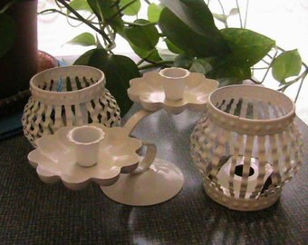 Set of 3 white metal candle holders, votive, taper