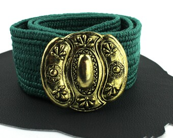 Teal & Brass Vintage Elastic Belt