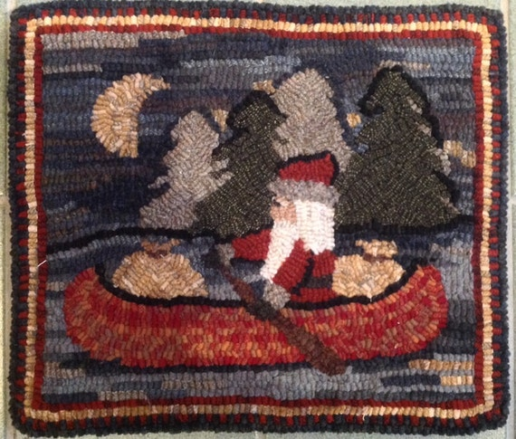 "Rug Hooking Pattern, Northwoods Santa  14"" x 16, P121"