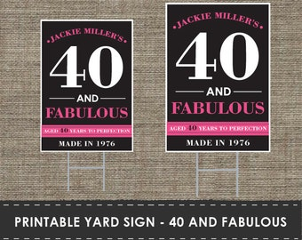Printable 40th Birthday Yard Sign - DIY - The Studio Barn