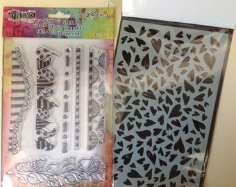 Dylusions by Dyan Reaveley - HEARTS EDGE Stamp & Stencil set cc02 SS026
