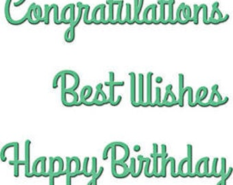 Spellbinders D-Lites SENTIMENTS ONE Congratulations Happy birthday Best wishes Cutting Dies S2-082 1.cc52