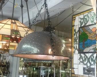 Vintage Industrial look metal colander hanging light fixture