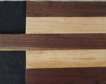 Walnut and Maple Cutting or Serving Board with Handle