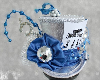 New Years Eve Hat , Holiday Party Hat , Blue and Silver Mini Top Hat, New Year's Eve Mini Hat, New Years Fascinator, New Years Decoration