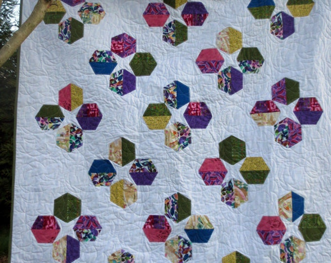 Handmade, Modern Tumbling Appliqued Hexagon Quilt Throw - Designer Fabrics - Multi-Color - Ready to Ship