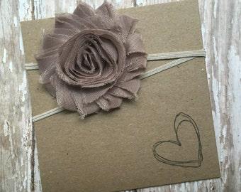 Beige/Khaki Shabby Flower Headband