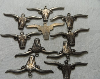 """Cast silver metal steer charms,1&3/8th"""",10pcs-CHM11"""