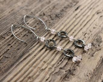 Elongated Rose Quartz and Gunmetal loop Earrings
