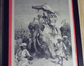 Original Engraving  ( 1875 )   French Prince riding Elephant