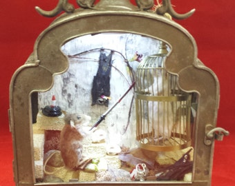 SALE!  Taxidermy Mice and Bats, Torture Chamber Display-mouse, Halloween, macabre-pagan-gothic-mid evil-dungeon