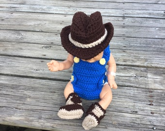 baby cowboy outfit newborn cowboy overalls baby cowboy photo prop baby cowboy hat cowboy boots newborn cowboy baby costume