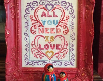 Vintage 'All You Need is Love' Cross Stitch, Red & Gold Baroque Ornate Frame Wall Art