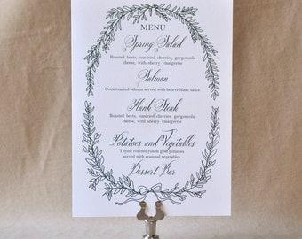 English Garden Menu, Green Ink, Wedding Menu, Calligraphy