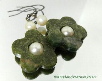 Green Jasper Flower Shaped Earrings with Glass Pearls