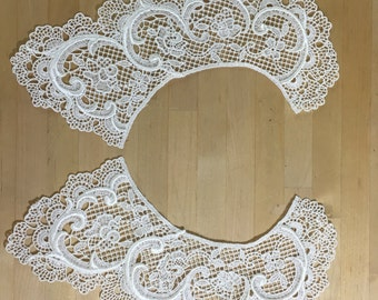 White Lace Collar Applique. in white Venise Lace for Bridal, Straps, Lolita, Sweaters, Lace Necklaces, Costumes