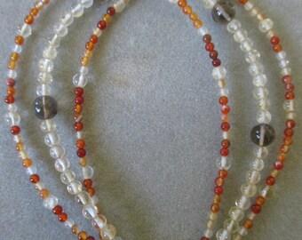 Sterling Silver Carnelian, Smokey Quartz & Citrine Beaded Bracelet