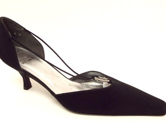 New Vintage STUART WEITZMAN Size 8 Black Peau de soie Evening Pumps Heels Shoes