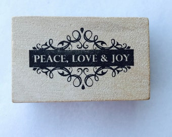 New- for Scrapbooking Rubber Stamping and Paper crafts Wood Mounted Rubber Stamp-- Peace Love and Joy