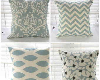 Pillow Cover, Pillow, Decorative Pillow, Decorative Throw Pillows, Blue Pillows, Cushions, Village Blue and Natural, 1- 18 x 18