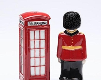 Traditional English Guard and Telephone Booth Salt and Pepper Shakers