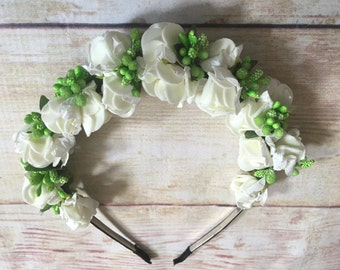 Vintage White Flower bud headband, Wedding, flower girl, bridesmaid, girls, teens, ages 6, 7, 8, 9,10, 11